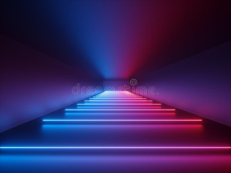 3d framför, glödande linjer, neonljus, abstrakt psykedelisk bakgrund, korridoren, tunnelen som är ultraviolett, vibrerande färger royaltyfri illustrationer