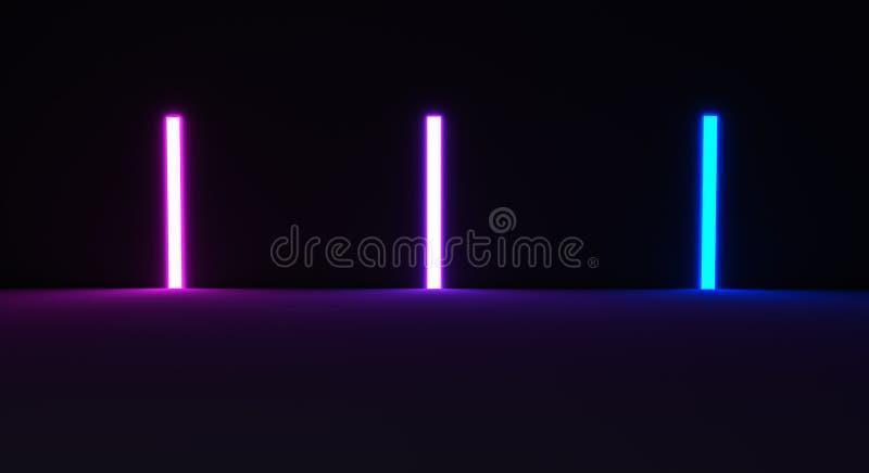 3d framf?r, gl?dande linjer, tunnelen, neonljus, virtuell verklighet, abstrakt bakgrund, den fyrkantiga portalen, b?gen, rosa bl? stock illustrationer