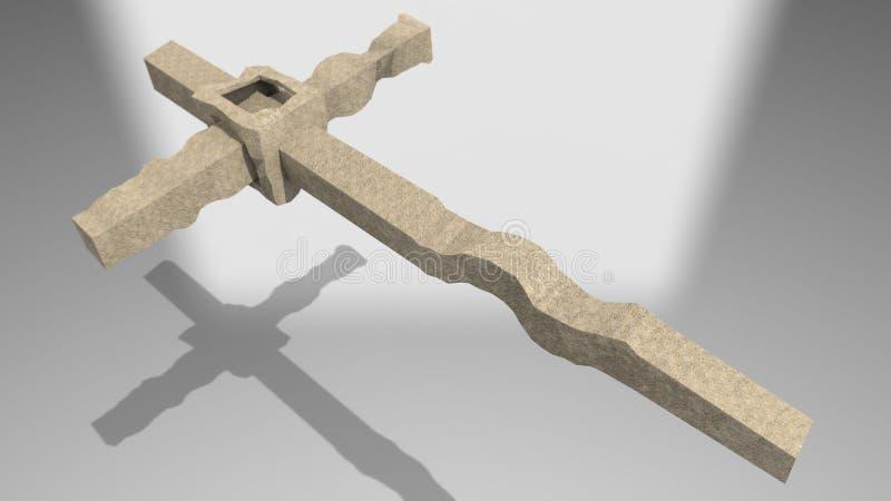 3d framför - hög upplösning för modern betongkorssymbol stock illustrationer