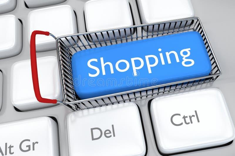 3D framför illustrationen av online-shoppingtangenten på ett tangentbord royaltyfri illustrationer