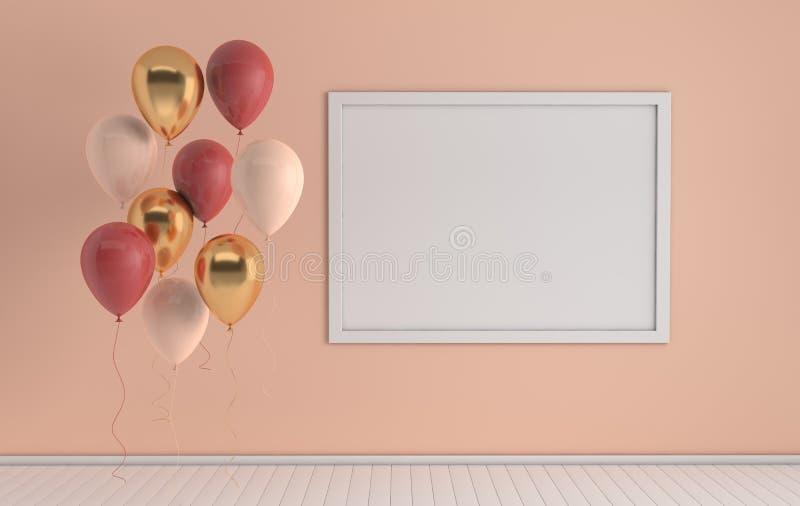 3d framför inre med realistiskt guld-, rött, och vita ballonger, förlöjligar upp affischram i rummet r stock illustrationer
