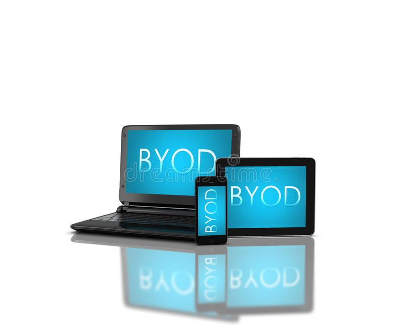 Apparater med BYOD vektor illustrationer