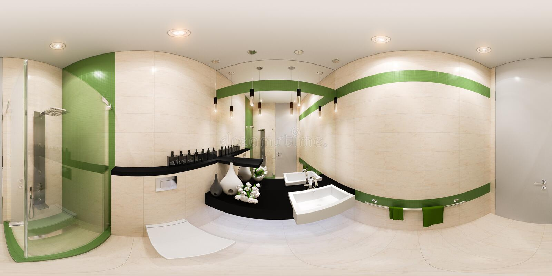 3d framför panoramainredesign av ett badrum i modern stil stock illustrationer