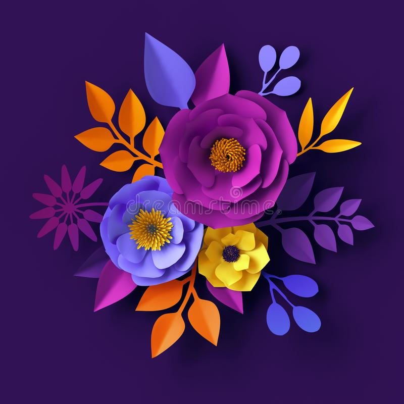 3d framför, pappers- blommor för neon, botanisk bakgrund, bohoferiebegreppet, den dekorativa blom- väggdesignen, brud- bukett vektor illustrationer