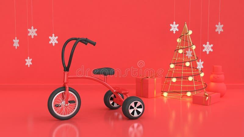 3d framför röd plats av begreppet för ferie för det nya året för julbakgrund royaltyfri illustrationer