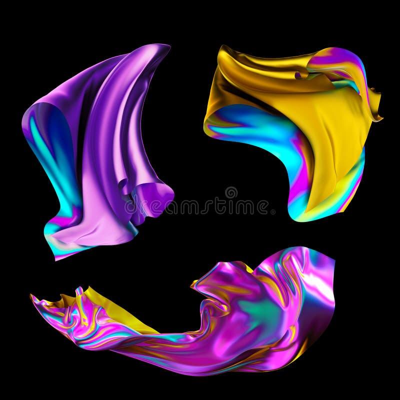 3d framför, regnbågsskimrande holographic folie, den metalliska torkduken, den mode vikta textilen, färgrikt tyg, designbeståndsd vektor illustrationer