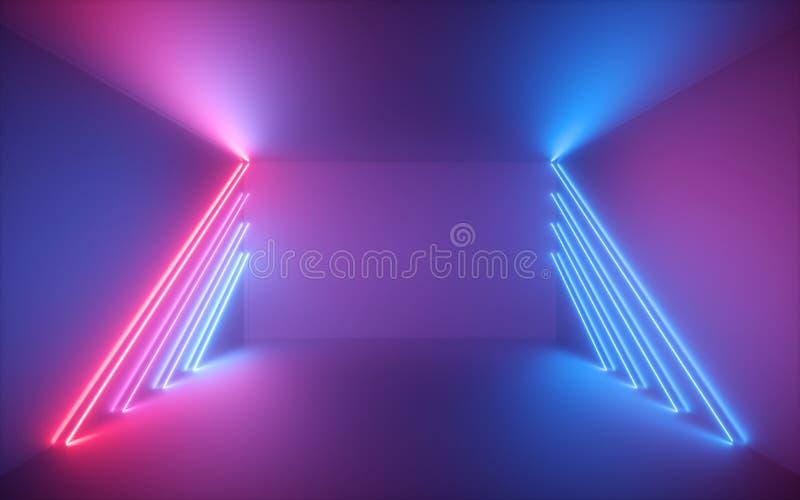 3d framför, rosa blåa neonlinjer, upplyst tomt rum, faktiskt utrymme, ultraviolett ljus, retro stil för 80-tal, modeshowetapp royaltyfri fotografi