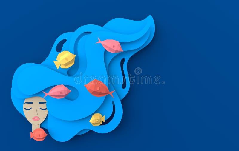 3d framför ståenden av den unga härliga kvinnasjöjungfrun med långt krabbt hår Pappers- undervattens- havsliv med fiskar, vågor p vektor illustrationer