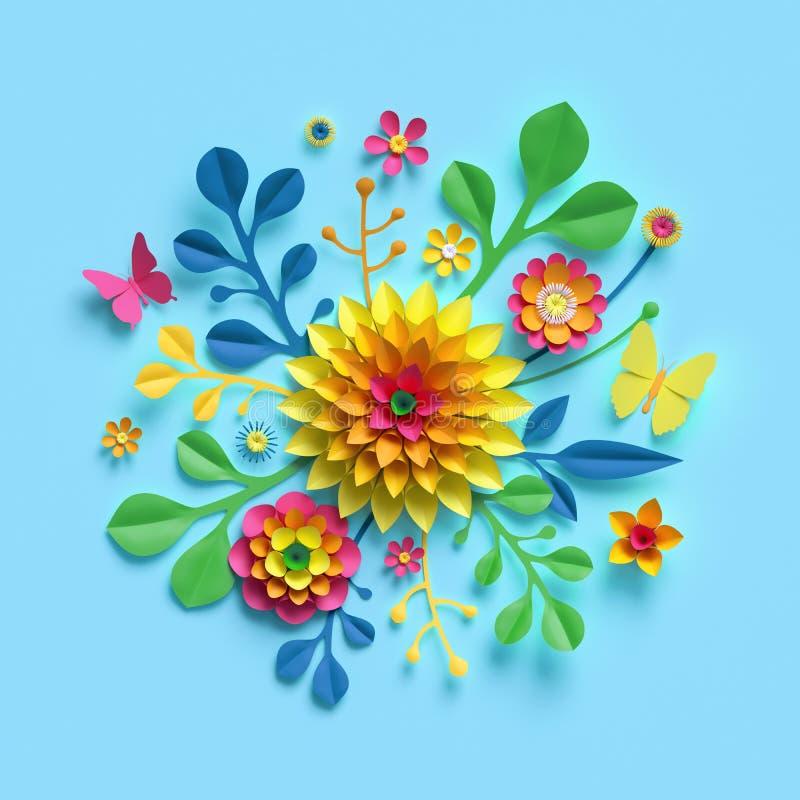 3d framför, tillverkar pappers- blommor, den runda blom- buketten, den gula dahlian, den botaniska ordningen, ljusa godisfärger,  vektor illustrationer