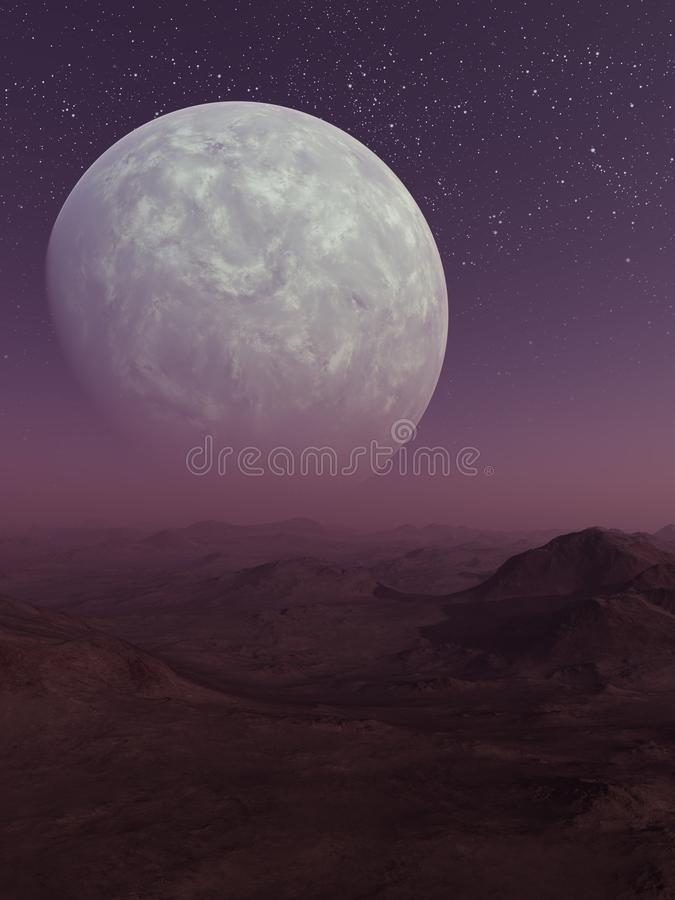 3d framförd utrymmekonst: Främmande planet royaltyfri illustrationer