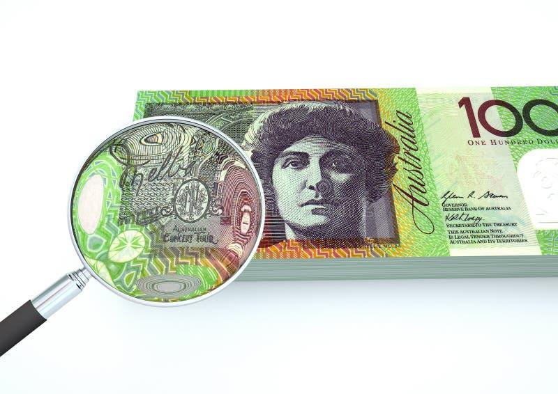 3D framförda Australien pengar med förstoringsapparaten utforskar valuta som isoleras på vit bakgrund arkivfoto