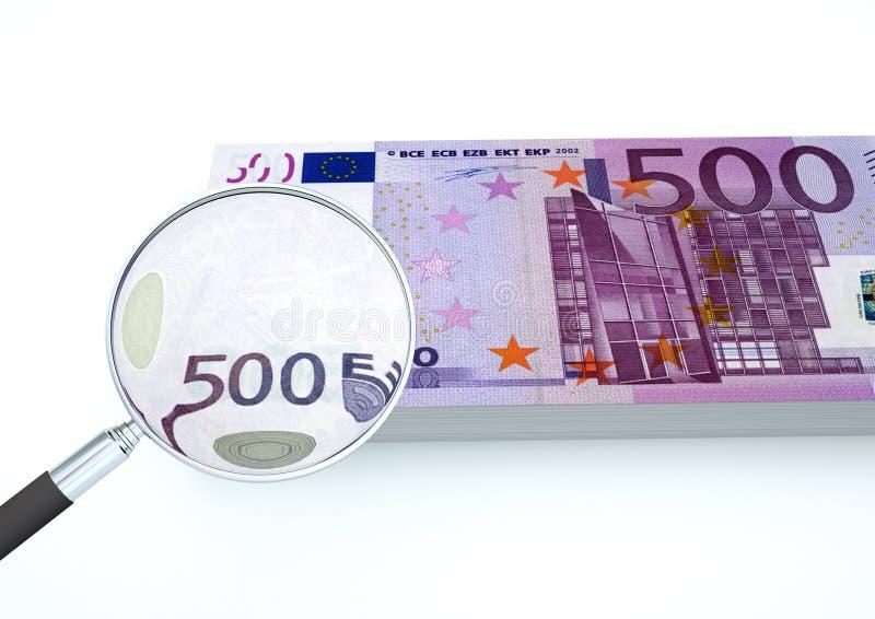 3D framförda europengar med förstoringsapparaten utforskar valuta som isoleras på vit bakgrund royaltyfria bilder