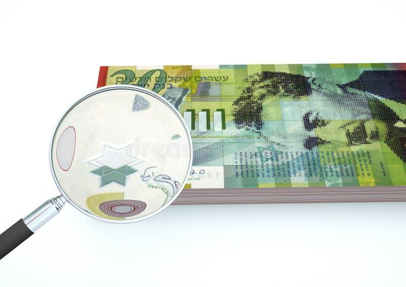 3D framförda Israel pengar med förstoringsapparaten utforskar valuta som isoleras på vit bakgrund royaltyfri foto