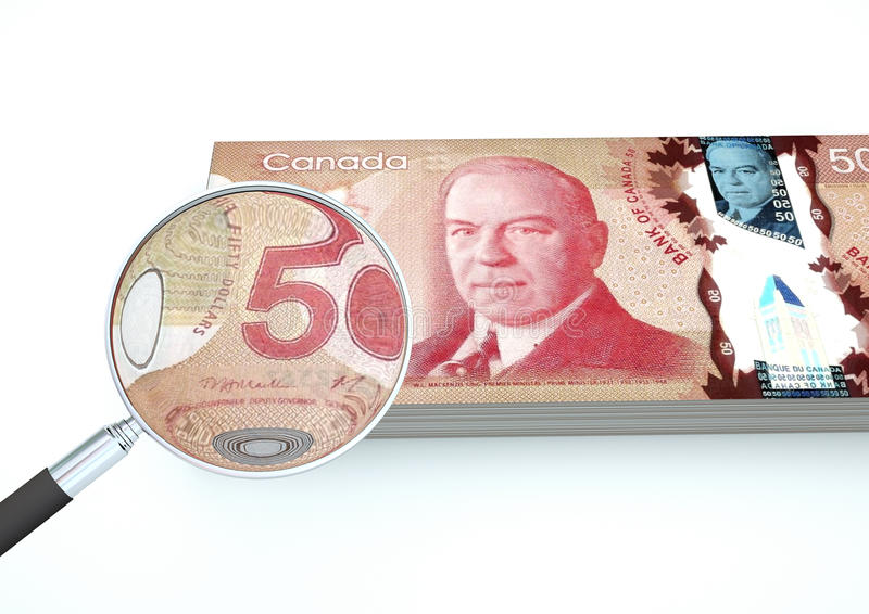 3D framförda Kanada pengar med förstoringsapparaten utforskar valuta som isoleras på vit bakgrund royaltyfri bild