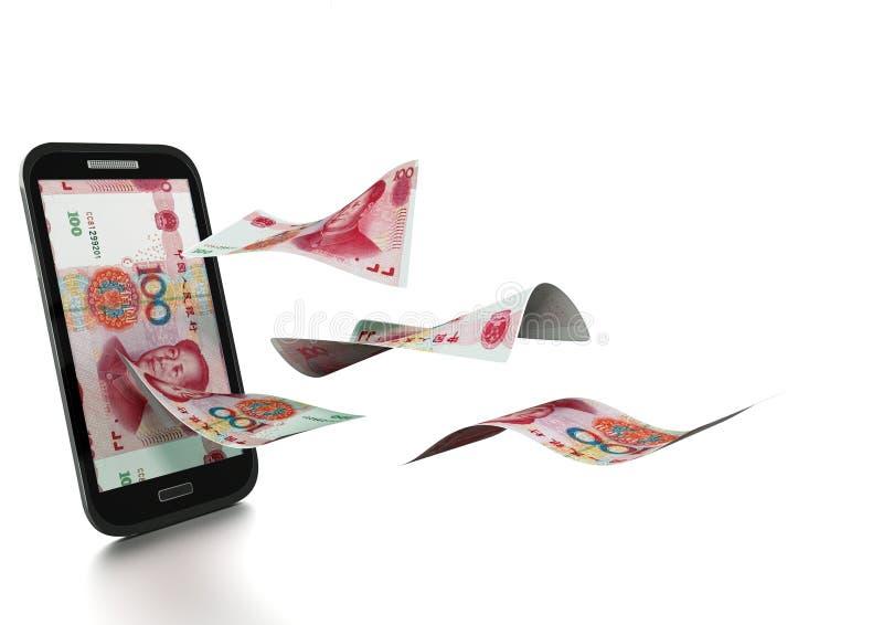 3D framförda kinesiska pengar som vippas på och isoleras på vit bakgrund arkivfoto