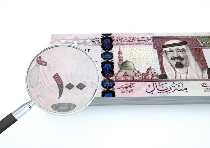 3D framförda nya Saudiarabien pengar med förstoringsapparaten utforskar valuta som isoleras på vit bakgrund fotografering för bildbyråer