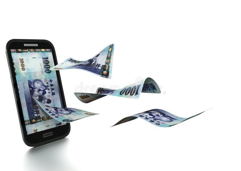 3D framförda taiwanesiska pengar som vippas på och isoleras på vit bakgrund royaltyfri fotografi