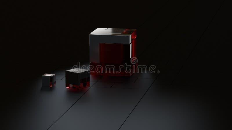 3D framförde bakgrund av högteknologiska metall- och exponeringsglaskuber i mörk studio royaltyfri illustrationer