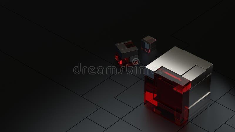3D framförde bakgrund av högteknologiska metall- och exponeringsglaskuber i mörk studio stock illustrationer