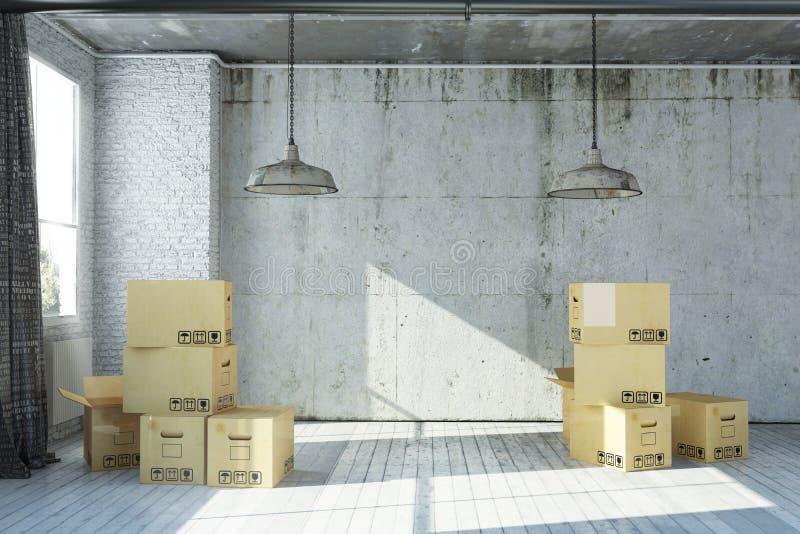 3D framförde den tomma lägenheten i industriell stil med flyttningaskar royaltyfri illustrationer