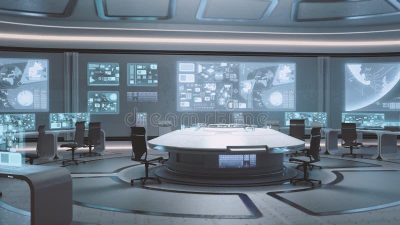 3D framförde den tomma, moderna futuristiska inre för kommandomitten arkivbilder