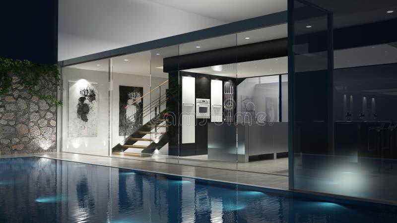 3D framförde huset med en glassfront och en pöl royaltyfri illustrationer
