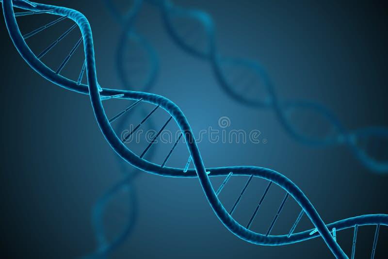 3D framförde illustrationen av den glödande DNAmolekylen Genetik och mikrobiologi royaltyfri illustrationer
