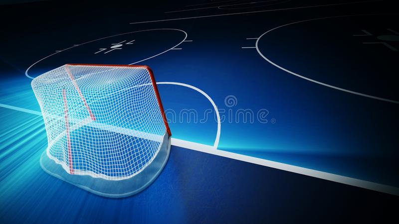 3d framförde illustrationen av det hockeyisisbanan och målet stock illustrationer