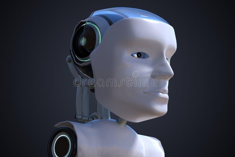 3D framförde illustrationen av det robotic huvudet den konstgjorda hjärnan circuits mainboard för elektronisk intelligens för beg stock illustrationer