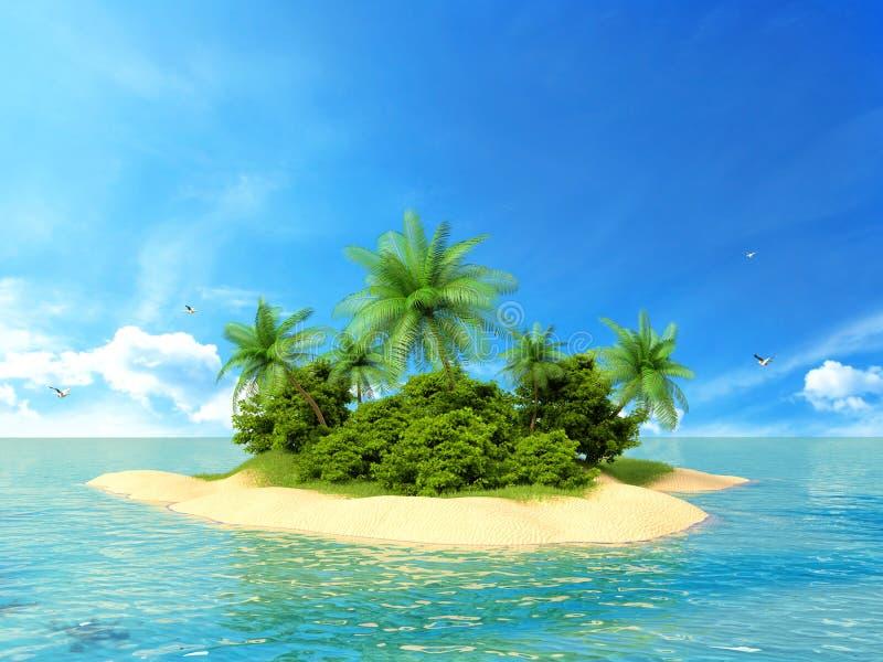 3d framförde illustrationen av en tropisk ö royaltyfri illustrationer