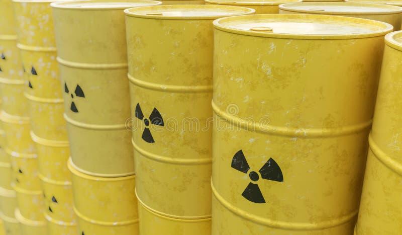 3D framförde illustrationen av många radioaktiva trummor Kärn- avfalls som dumpar begrepp stock illustrationer