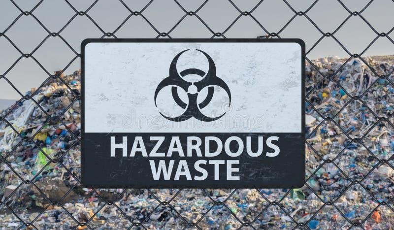 3D framförde illustrationen av tecknet för farlig avfalls på staketet för den chain sammanlänkningen Nedgrävning av sopor i bakgr royaltyfri illustrationer