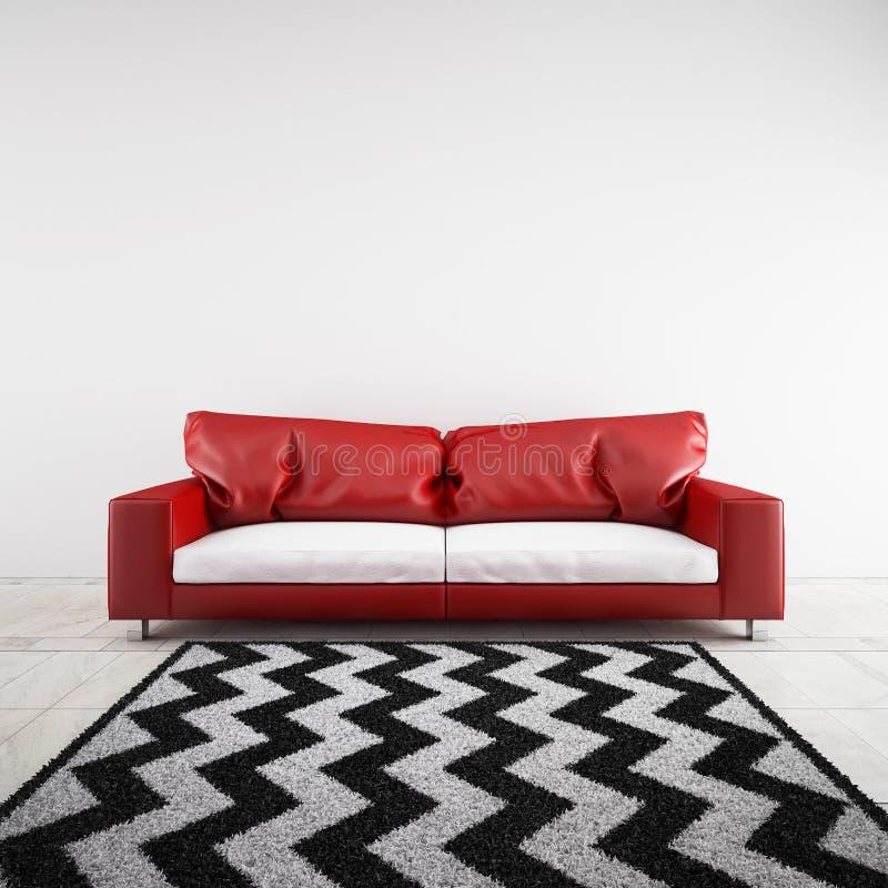 3D framförde soffan i ett rum vektor illustrationer