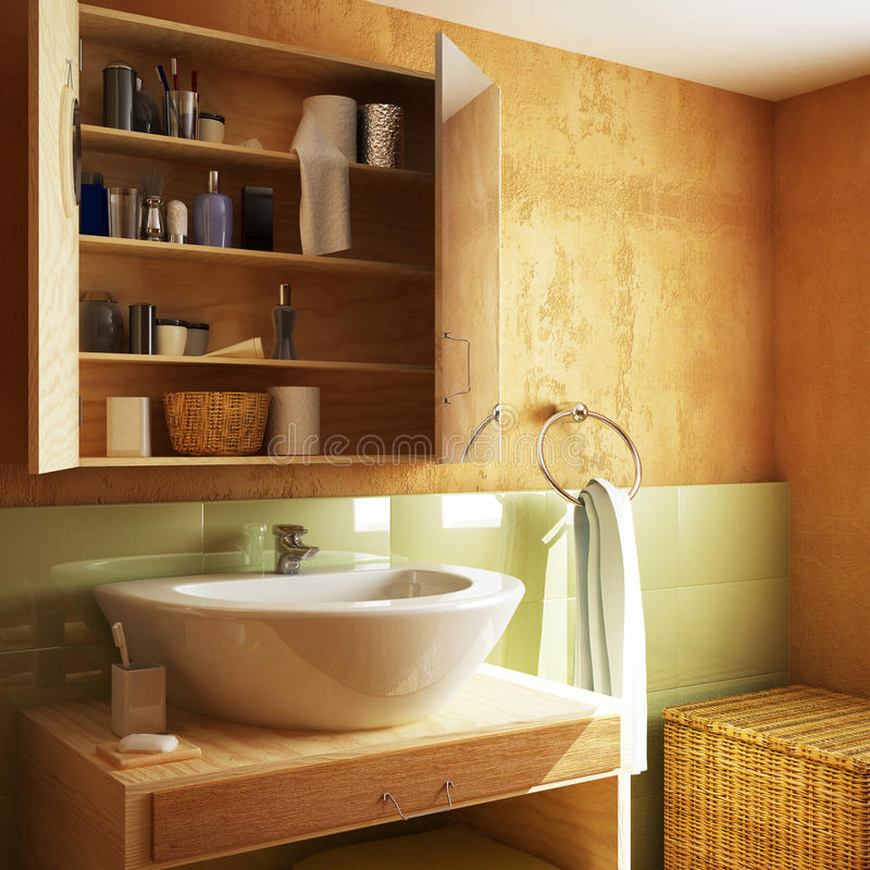 3D framfört lyxigt badrum stock illustrationer