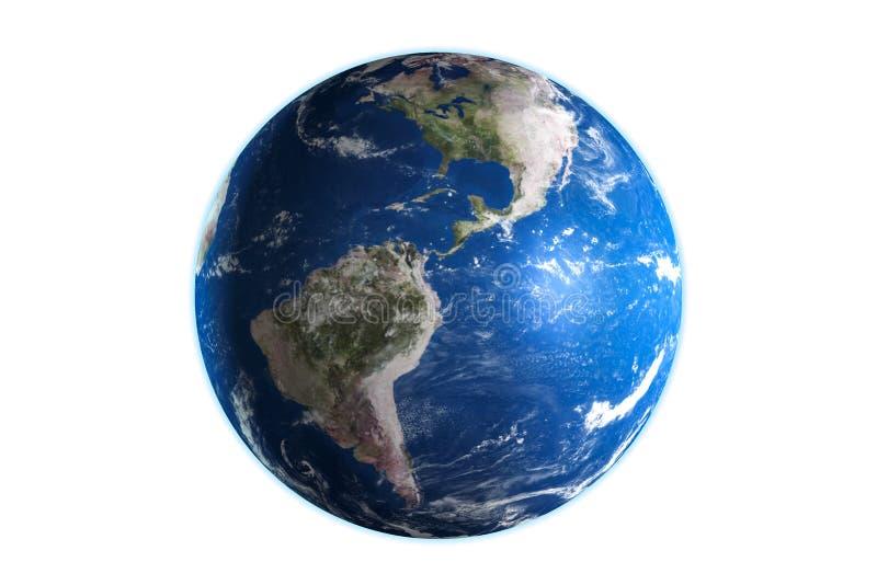 3D framf?r av planetjord som isoleras p? vit bakgrund royaltyfri illustrationer
