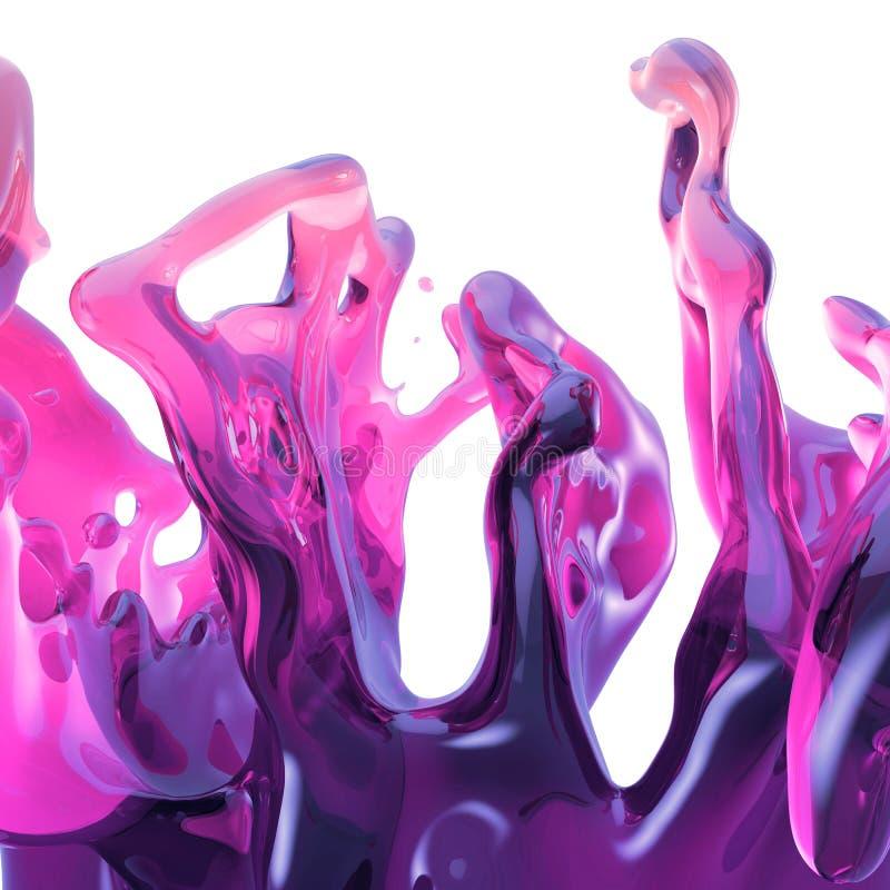 3d framf?r, neonf?rgst?nk, rosa flytande, drinken som plaskar, designbest?ndsdelen som isoleras p? vit bakgrund stock illustrationer
