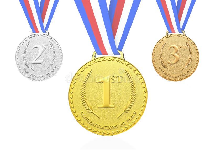 3D framf?rde guld, silver, bronsmedaljer vektor illustrationer