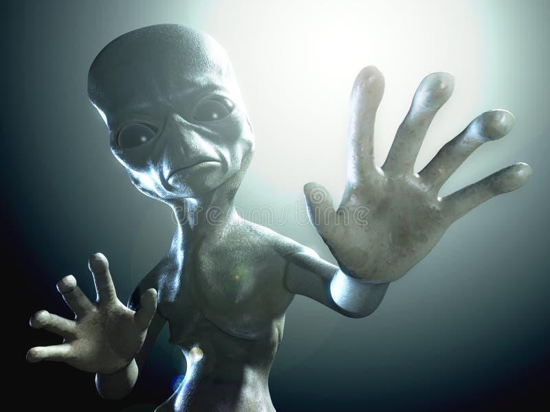 3d framf?rde illustrationen av en humanoidfr?mling vektor illustrationer