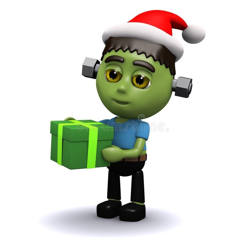 3d Frankenstein boże narodzenia ilustracji