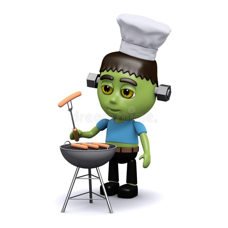 3d Frankenstein grill royalty ilustracja