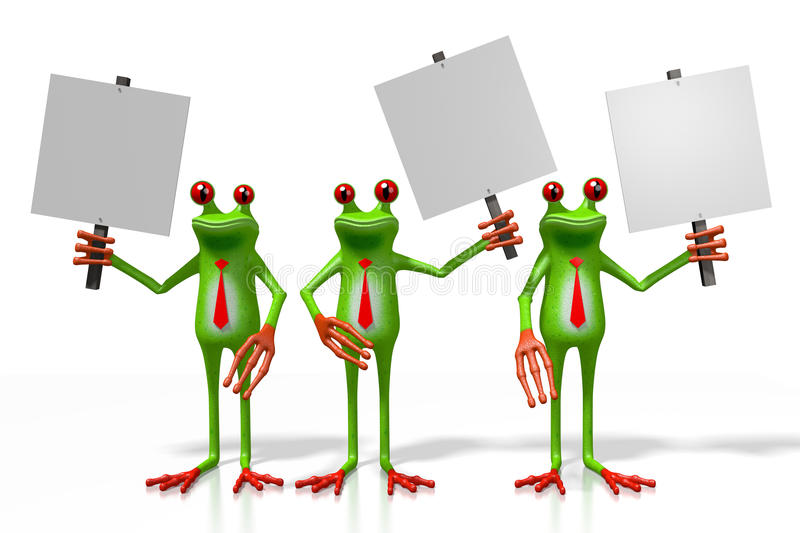 3D frogs with signposts. 3D cartoon frogs holding signposts - great for topics like advertisement, presentation etc stock illustration