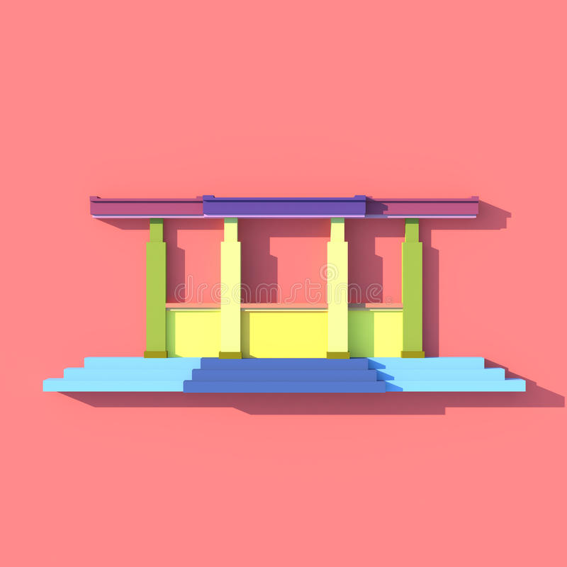 3D front view of south-east Asian stairs building. 3D front view elevation of south-east Asian stairs building in artists design stock illustration