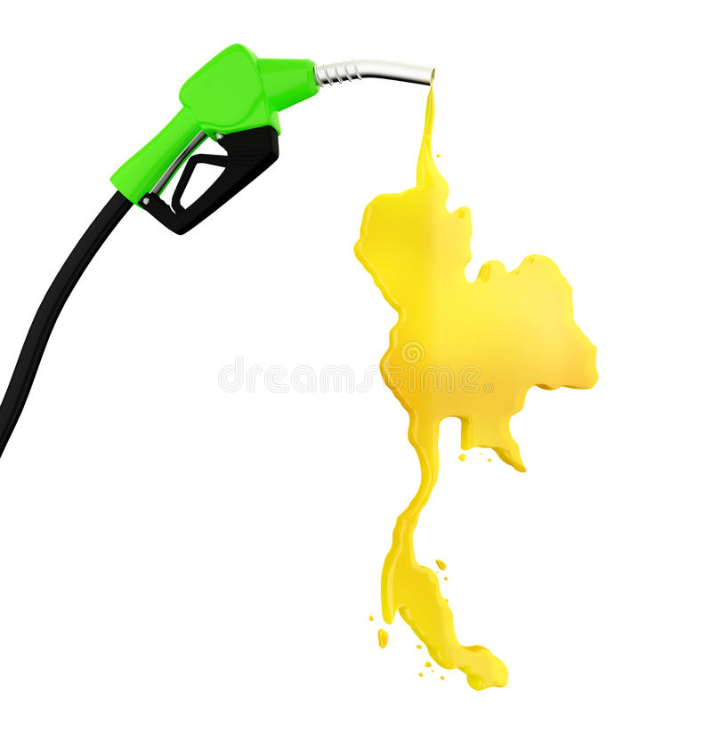 3d Fuel nozzle with Thailand Map drop stock images