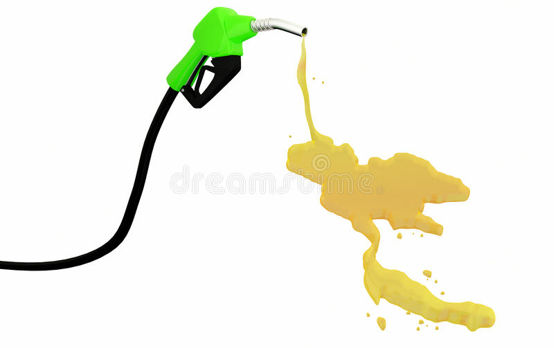 3d Fuel nozzle with Thailand Map drop royalty free stock images
