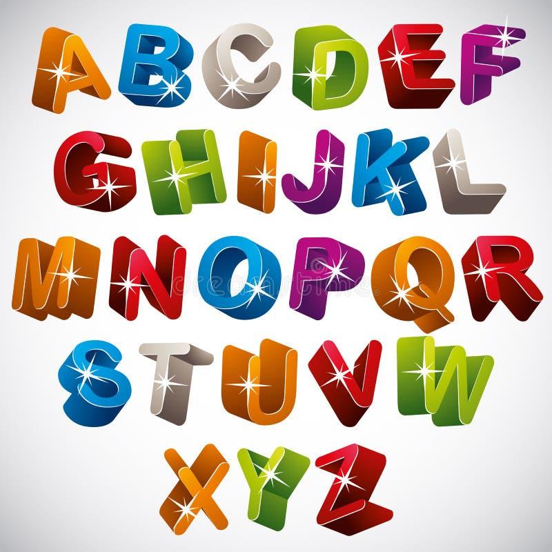 3D fuente, alfabeto colorido brillante libre illustration