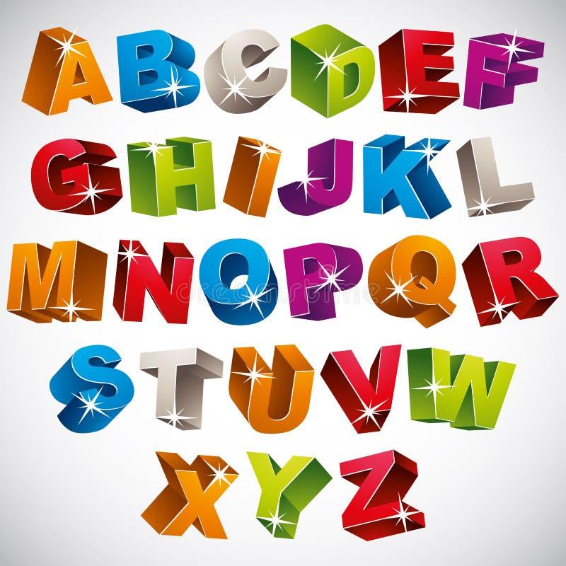 3D fuente, alfabeto colorido intrépido stock de ilustración