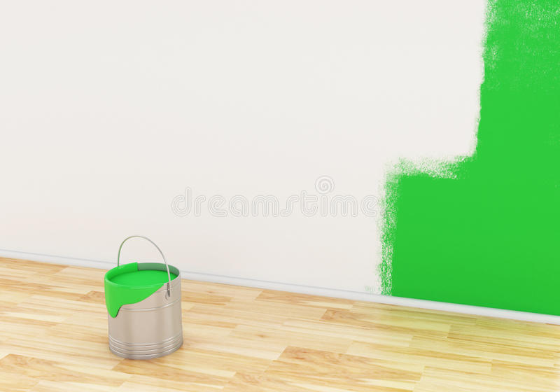 3d Full bucket of paint color green. royalty free illustration