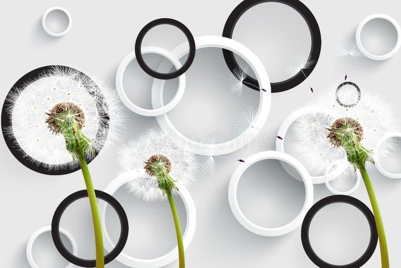 3d Fundo branco cinza e prateado com silhuetas de dentes-de-leão com círculos, renderização 3d moderna ilustração royalty free