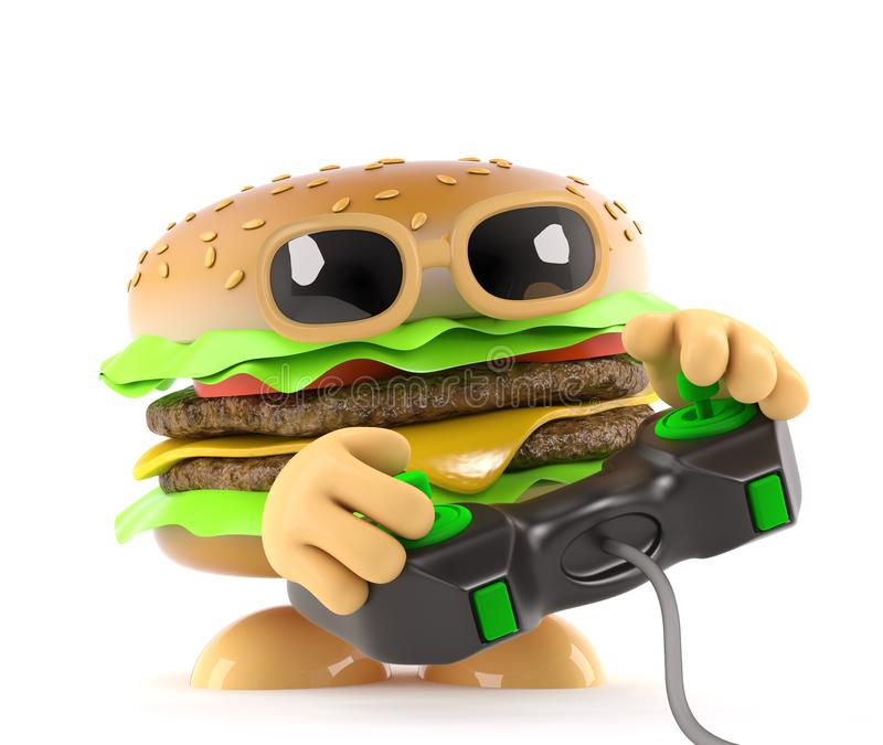 3d Funny cartoon beef burger playing a video game vector illustration