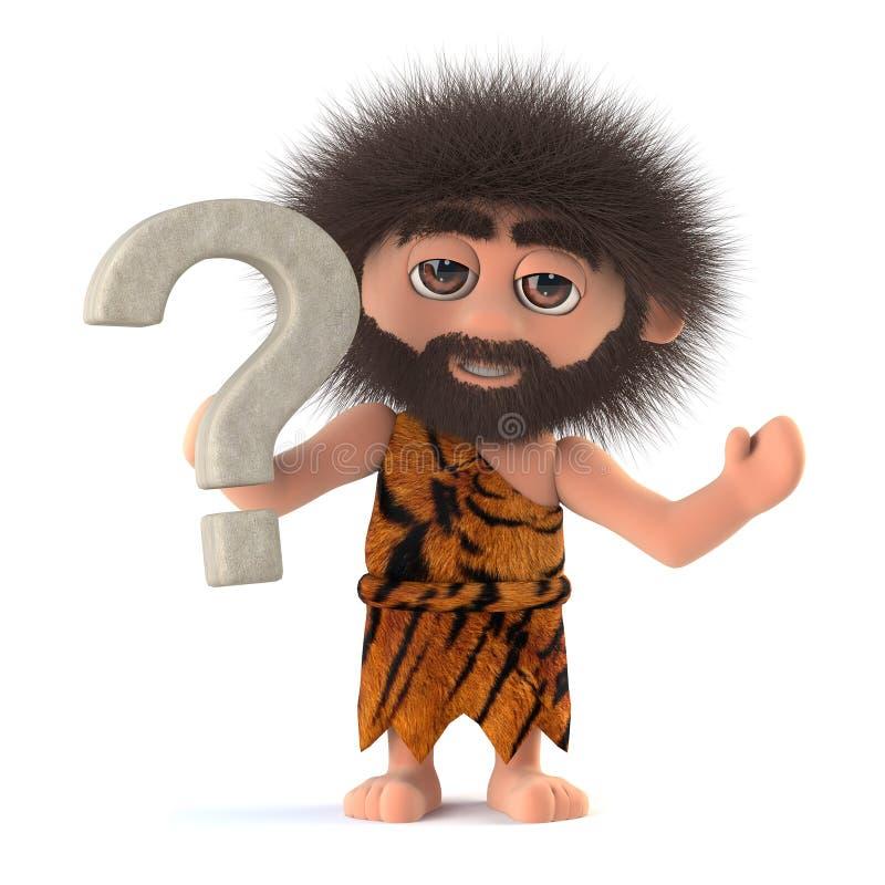 3d Funny cartoon caveman character has a question stock illustration